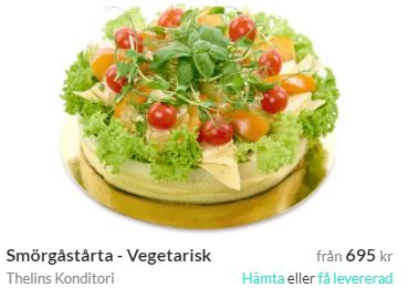 vegetrasik smörgårstårta med tårtbud