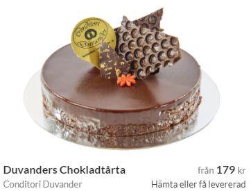 chokladtårta med bud i kristianstad