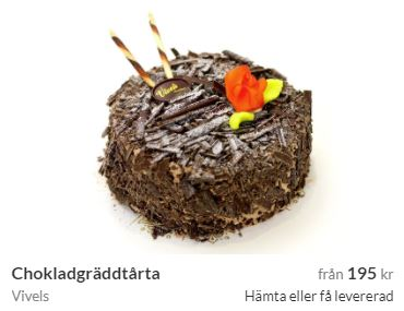 chokladtårta med hemleverans